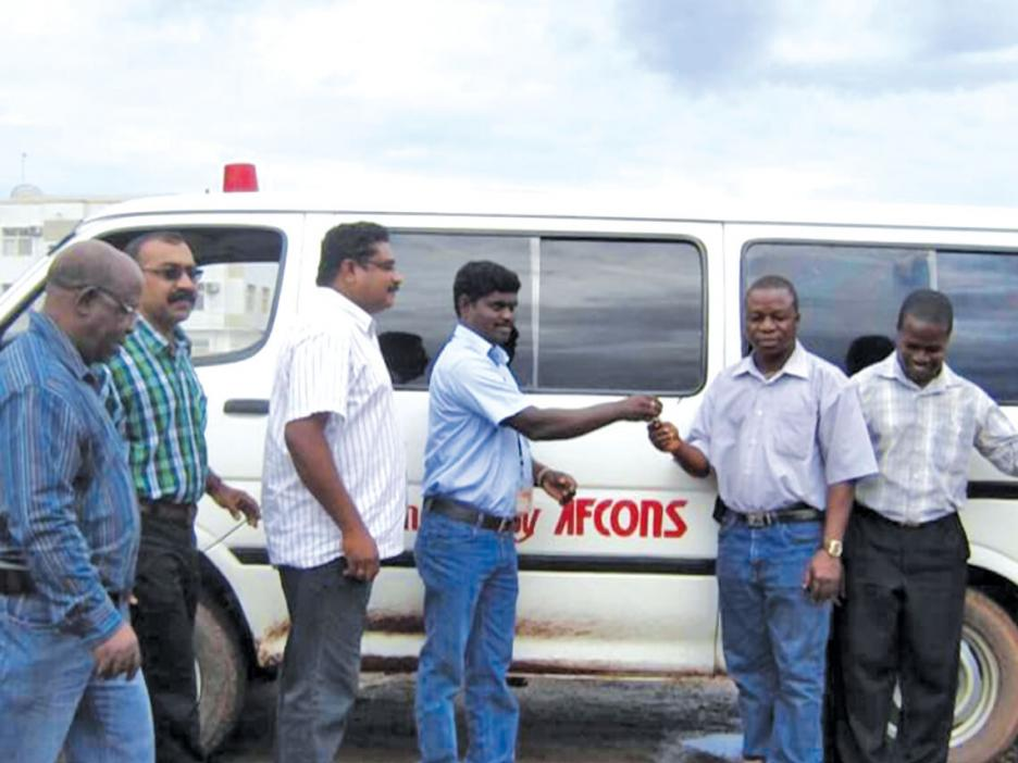 Afconians donate an ambulance to a local community in Liberia