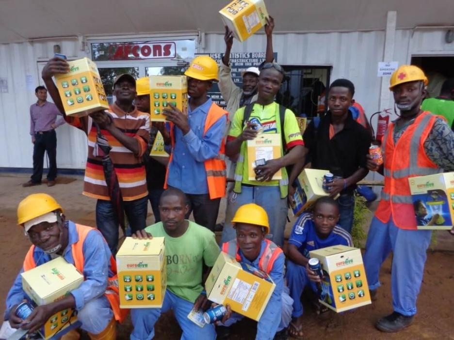 Solar lamps being distributed among Afcons workers