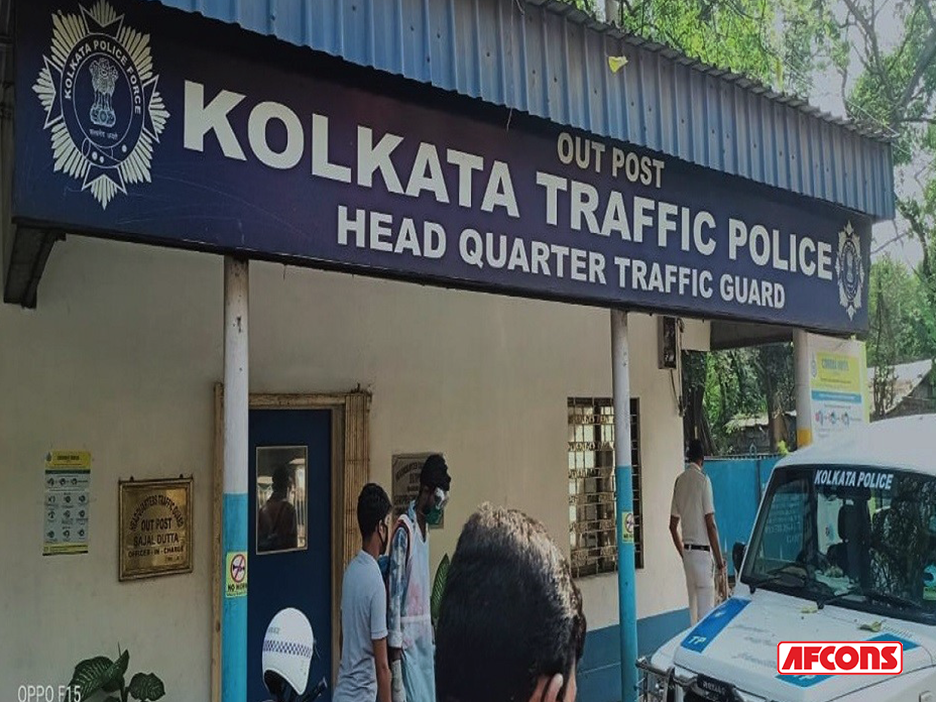 Disinfection drive of Kolkata Traffic Police Headquarters