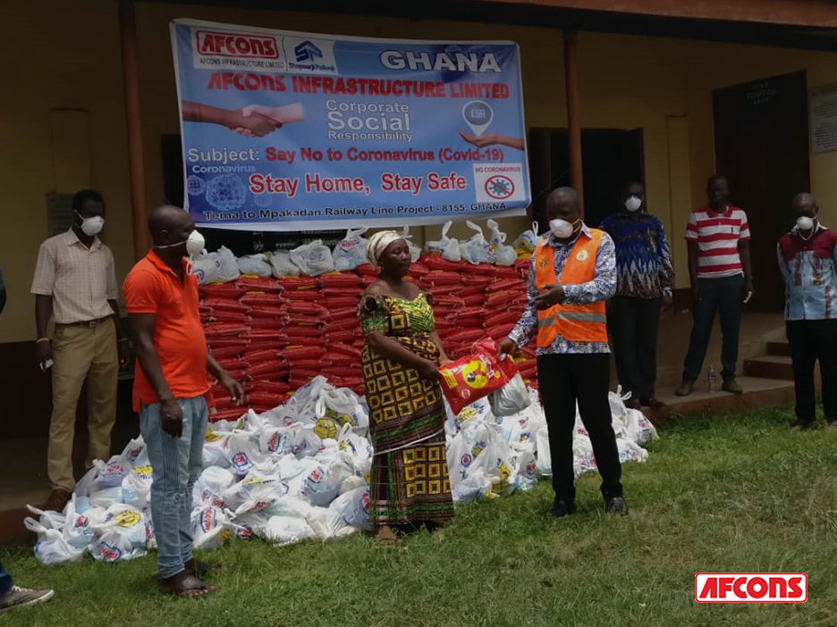 Ration distribution to locals in Ghana