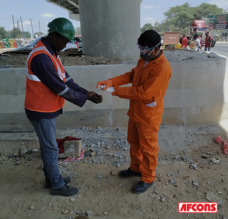 Hand sanitising being encouraged at sites afcons
