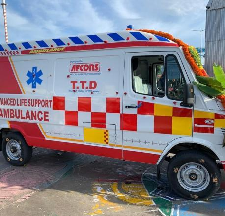 Afcons donates an advanced life-saving ambulance to Tirumala Tirupati Devasthanams (TTD), at Tirupati
