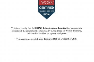 Certificate - Great Place To Work afcons